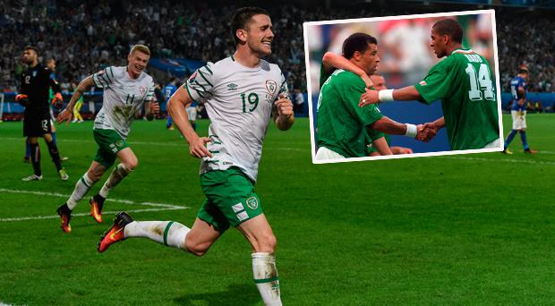 Robbie Brady celebrates goal against Italy at the Euros and (inset) Paul McGrath after beating Italy in 1994