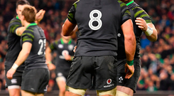 Dave Kilcoyne, right and CJ Stander of Ireland celebrate at the weekend