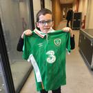 Daniel Bracken was presented with an Ireland jersey signed by the Irish squad ahead of the big clash with Denmark