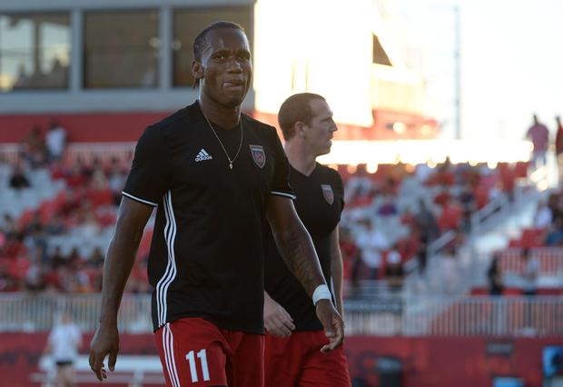Didier Drogba #11 of Phoenix Rising FC walks off the field after warms ups prior to the match against the Vancouver Whitecaps II at Phoenix Rising Soccer Complex on June 10, 2017 in Phoenix, Arizona. (Photo by Jennifer Stewart/Getty Images)
