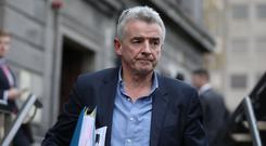 Michael O Leary of Ryanair pictured leaving the Four Courts today after giving evidence in a High Court action. Pic: Collins Courts
