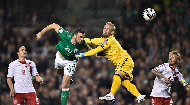 Shane Duffy of Republic of Ireland scores his side's first goal during the FIFA 2018 World Cup Qualifier Play-off 2nd leg match between Republic of Ireland and Denmark at Aviva Stadium in Dublin. (Photo By Seb Daly/Sportsfile via Getty Images)
