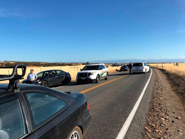 Traffic backs up outside Rancho Tehama, Calif., after multiple people were killed in a shooting Tuesday, Nov. 14, 2017. (Jim Schultz/The Record Searchlight via AP)