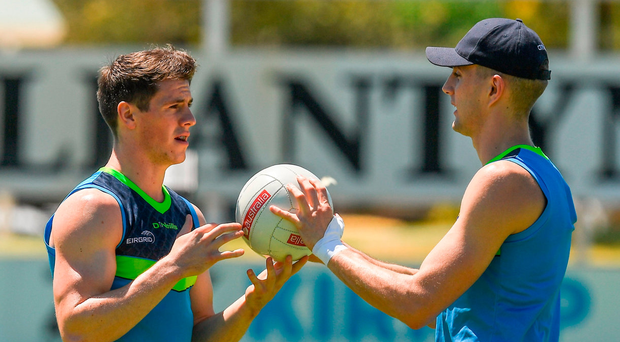 Shane Walsh and Killian Clarke practise a drill during International Rules training at Bendigo Bank Stadium, Mandurah. Photo: Ray McManus/Sportsfile