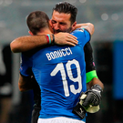 A tearful Gianluigi Buffon embraces Leonardo Bonucci at the San Siro in his final game for Italy. Photo: Marco Luzzani/Getty Images