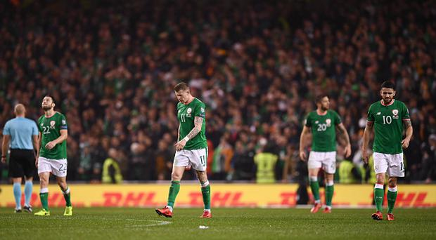 Republic of Ireland players, from left, Harry Arter, James McClean, Stephen Ward and Robbie Brady react to Denmark scoring a second goal during the FIFA 2018 World Cup Qualifier Play-off 2nd leg match between Republic of Ireland and Denmark at Aviva Stadium in Dublin. (Photo By Stephen McCarthy/Sportsfile via Getty Images)