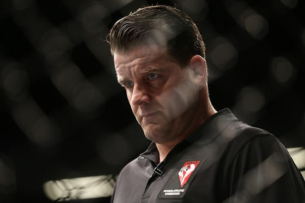 Referee Marc Goddard looks on during the bout between Cody Stamann and Terrion Ware during the UFC 213 event at T-Mobile Arena on July 9, 2017 in Las Vegas, Nevada. (Photo by Rey Del Rio/Getty Images)