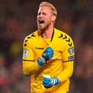 Kasper Schmeichel celebrates after Christian Eriksen scores Denmark's second. Photo: Eóin Noonan/Sportsfile