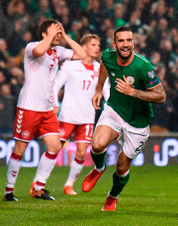 The Republic of Ireland's Shane Duffy celebrates after scoring his side's first goal during the World Cup qualifier play-off, second leg at the Aviva Stadium in Dublin last night. Photo by Stephen McCarthy/Sportsfile
