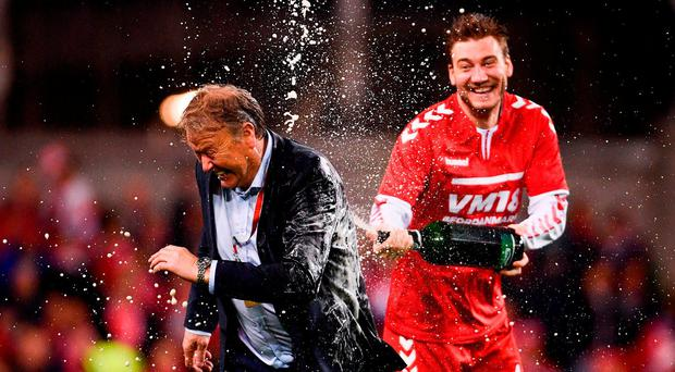 Denmark manager Aage Hareide and Nicklas Bendtner of Denmark celebrate after the FIFA 2018 World Cup Qualifier Play-off 2nd leg match between Republic of Ireland and Denmark at Aviva Stadium in Dublin. Photo by Ramsey Cardy/Sportsfile