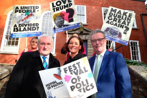 Former taoiseach Bertie Ahern, Fine Gael TD Kate O'Connell and former UUP leader Mike Nesbitt at the launch of the Festival of Politics. Photo: Colin O'Riordan