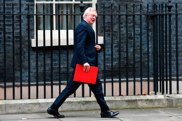 British Brexit Secretary David Davis arriving for the weekly cabinet meeting at 10 Downing Street Photo: Stefan Rousseau/PA Wire