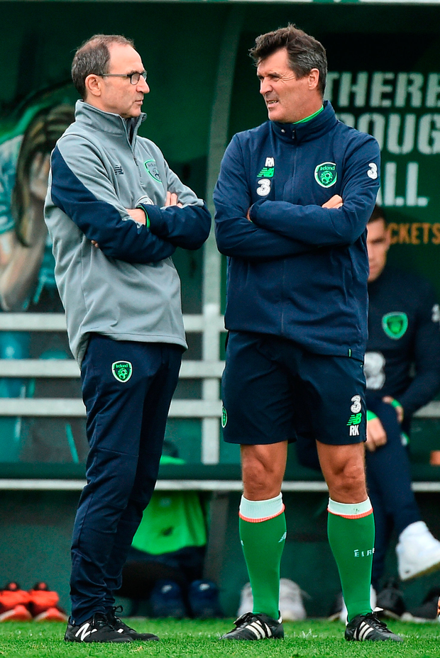 Republic of Ireland manager Martin O'Neill with assistant manager Roy Keane at training in Abbotstown. Photo: David Maher/Sportsfile