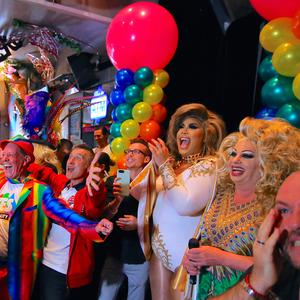 Members of Sydney's gay community react as they celebrate after it was announced the majority of Australians support same-sex marriage in a national survey, paving the way for legislation to make the country the 26th nation to formalise the unions by the end of the year, at a pub located on Sydney's Oxford street, Australia, November 15, 2017. REUTERS/Steven Saphore