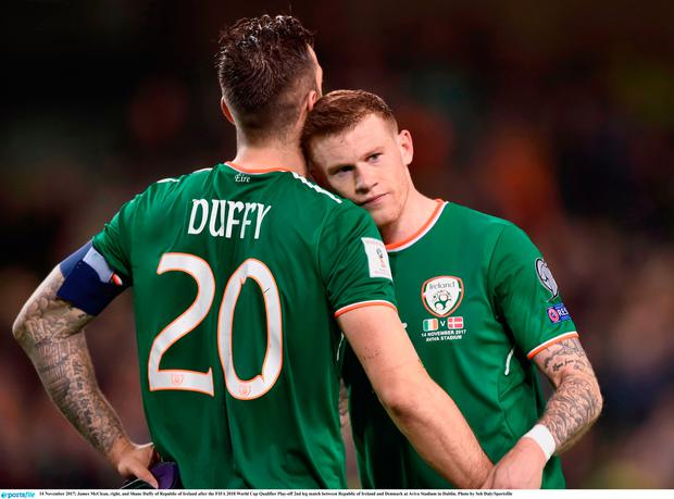 James McClean, right, and Shane Duffy