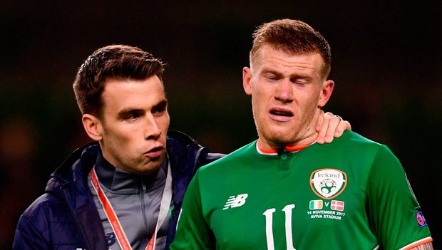 Seamus Coleman, left, and James McClean after Danish defeat. Photo: Sportsfile