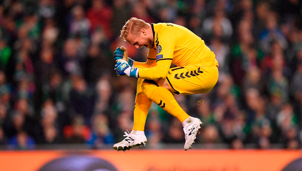 Kasper Schmeichel of Denmark celebrates his side's second goal