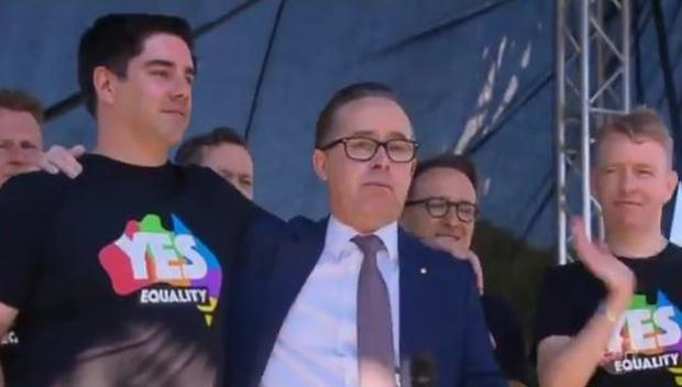 Alan Joyce and his partner Shane had an emotional reaction to the yes vote