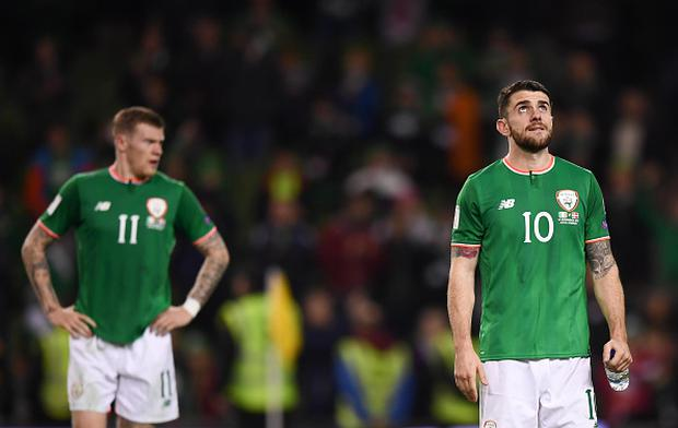 Robbie Brady, right, and James McClean of Republic of Ireland following the FIFA 2018 World Cup Qualifier Play-off 2nd leg match between Republic of Ireland and Denmark at Aviva Stadium in Dublin. (Photo By Stephen McCarthy/Sportsfile via Getty Images)