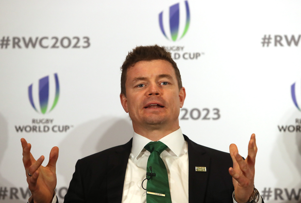 Brian O'Driscoll during the Rugby World Cup 2023 Bid Presentations at he Royal Garden Hotel in London, England. Photo by Christopher Lee / World Rugby via Sportsfile