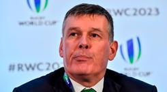 IRFU chief executive Philip Browne after the Rugby World Cup 2023 host union announcement at the Royal Garden Hotel, London, England. Photo by Brendan Moran/Sportsfile