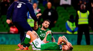 14 November 2017; A dejected Shane Duffy, top, and Jeff Hendrick of Republic of Ireland after the FIFA 2018 World Cup Qualifier Play-off 2nd leg match between Republic of Ireland and Denmark at Aviva Stadium in Dublin. Photo by Ramsey Cardy/Sportsfile