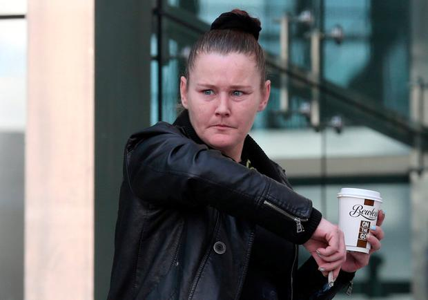 Linda Wall (37) of Mount Brown, Old Kilmainham, Dublin leaves the Dublin Circuit Criminal Court today where she received a suspended sentence of four years. Pic Collins Courts.