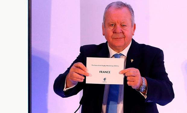 Bill Beaumont, the World Rugby chairman, announces that France will host Rugby World Cup 2023 during the 2023 Rugby World Cup host union announcement at The Royal Garden Hotel, Kensington.