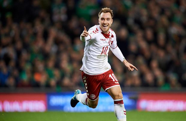 Christian Eriksen of Denmark celebrates after scoring their third goal during the FIFA 2018 World Cup Qualifier Play-Off Second Leg match between Republic of Ireland and Denmark at Aviva Stadium on November 14, 2017 in Dublin, Republic of Ireland. (Photo by Lars Ronbog / FrontZoneSport via Getty Images)