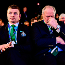 Ireland 2023 bid ambassador Brian O'Driscoll, left, IRFU President Philip Orr, centre, and IRFU chief executive Philip Browne react during the Rugby World Cup 2023 host union announcement. Photo: Sportsfile