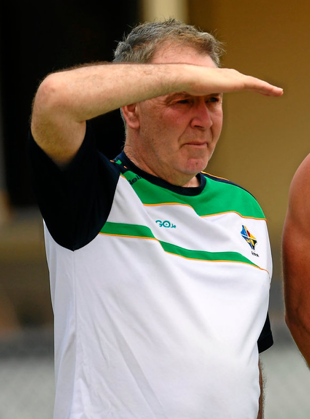 Dr Kevin Moran, team doctor with the Irish International Rules team in Australia, watches training. Photo: Ray McManus/Sportsfile