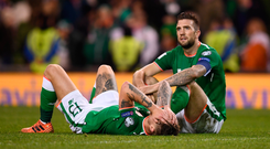 Jeff Hendrick and Shane Duffy are down and out after Tuesday's humiliating defeat. Photo: Sportsfile