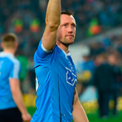 Denis Bastick waves to the supporters on the Hill – the Templeogue/Synge Street clubman walks away with five All-Ireland SFC medals. Photo: Cody Glenn/Sportsfile