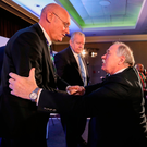 Fédération Française de Rugby (FFR) president Bernard Laporte is congratulated by IRFU president Philip Orr. Photo: Dave Rogers/Sportsfile
