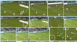 A selection of screen-grabs from Copenhagen to Dublin which ultimately led to Denmark's equalising goal and may have caused one or two more