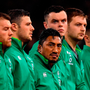 Bundee Aki (centre) lines up alongside Robbie Henshaw (left) and James Ryan. Photo: Brendan Moran/Sportsfile