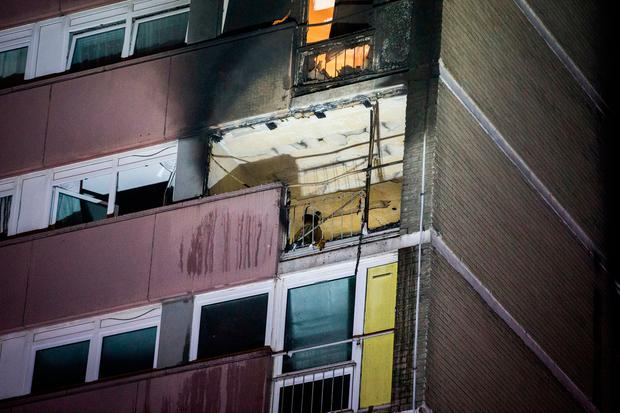 The scene of a fire at Coolmoyne House in Dunmurry, near Belfast, where residents have been evacuated from the building. PRESS ASSOCIATION Photo.