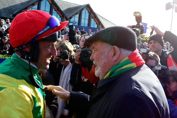 Robbie Power with Alan Potts after Fox Norton won the Boylesports Champion Chase at Punchestown in April. Pic: Alain Barr