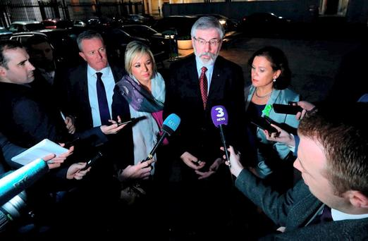 Sinn Féin's Conor Murphy, Michelle O'Neill, Gerry Adams and Mary Lou McDonald at Leinster House ahead of a meeting about powersharing last night. Photo: PA