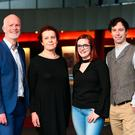 Dr Graham Love (left),chief executive of the HEA, and Katherine Donnelly, education editor, Irish Independent, with the winners of the Irish Independent/HEA Making an Impact Award 2017, Joanne Duffy, from NUI, and Eoin Murphy, also from NUI, at The Helix in DCU. Photo: Frank McGrath