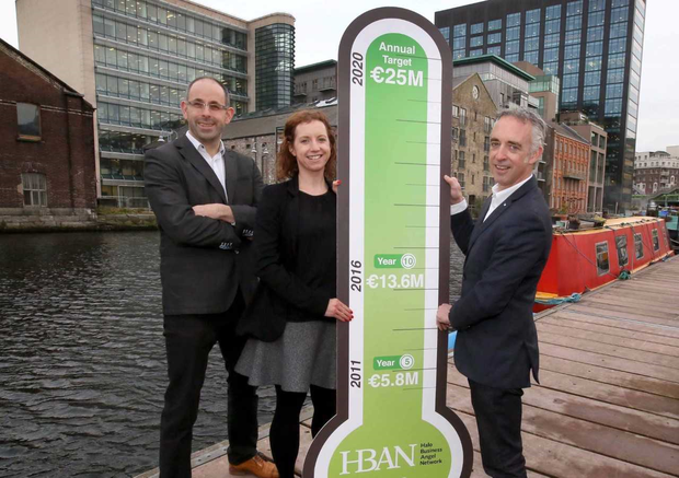 Pictured announcing plans to increase the amount invested in Irish start-ups by HBAN angels to €25m per year by 2020 are (L-R) Julian Seymour, syndicates manager, HBAN; Sarah Cagney, communications & relationship manager, HBAN; and John Phelan, national director, HBAN