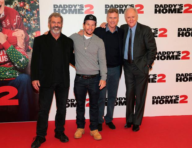Mel Gibson ,Mark Wahlberg, Will Ferrell and John Lithgow at the Irish Premiere screening of 'Daddy's Home 2 at The Odeon Cinema in Point Square, Dublin. Picture: Brian McEvoy