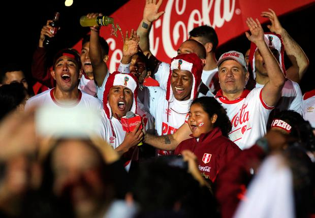 Peru's players celebrate their victory