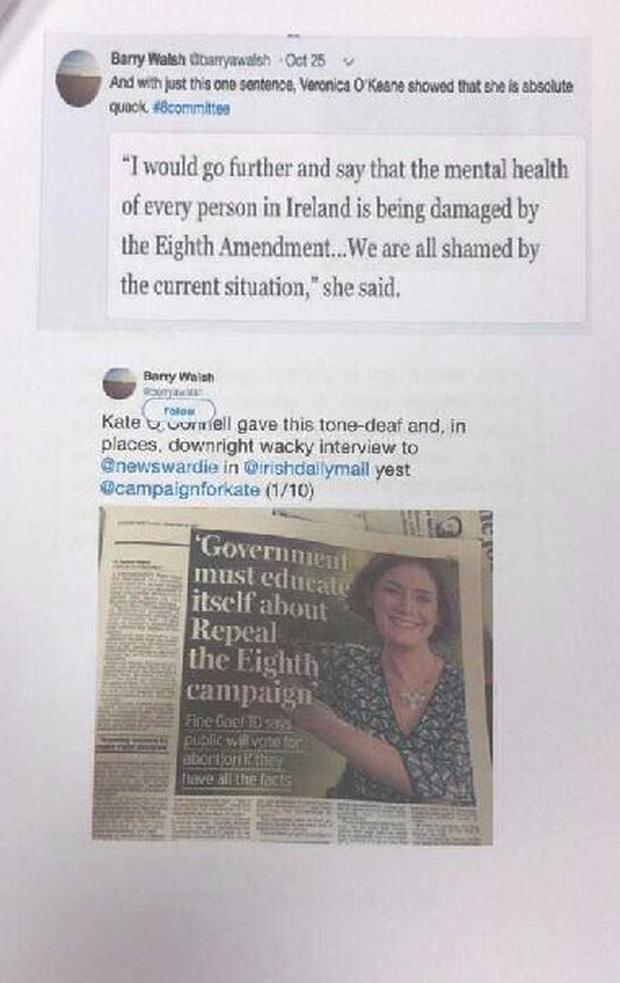 Kate O'Connell presented the dossier of printed tweets to the meeting on Wednesday