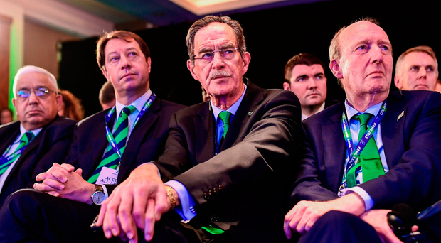 Ireland 2023 Oversight Board chairman Dick Spring, and Minister for Transport, Tourism and Sport Shane Ross, T.D., right, react during the Rugby World Cup 2023 host union announcement
