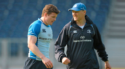19 April 2011; Leinster head coach Joe Schmidt and Brian O'Driscoll during squad training ahead of their Celtic League match against Aironi on Saturday April 23rd. Leinster Rugby Squad Training, RDS, Ballsbridge, Dublin. Picture credit: Paul Mohan / SPORTSFILE