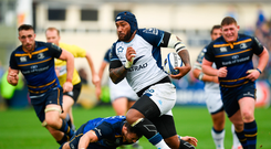 14 October 2017; Nemani Nadolo of Montpellier is tackled by Robbie Henshaw of Leinster during the European Rugby Champions Cup Pool 3 Round 1 match between Leinster and Montpellier at the RDS Arena in Dublin. Photo by Stephen McCarthy/Sportsfile