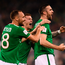 14 November 2017; Shane Duffy of Republic of Ireland celebrates after scoring his side's goal with team-mates David Meyler, left, and James McClean during the FIFA 2018 World Cup Qualifier Play-off 2nd leg match between Republic of Ireland and Denmark at Aviva Stadium in Dublin. Photo by Stephen McCarthy/Sportsfile