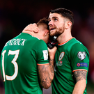 A dejected Jeff Hendrick, left, and Robbie Brady after the World Cup Qualifier Play-off.. Photo: Sportsfile