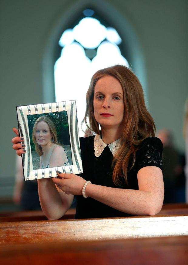Catherine Flaherty from Connemara, Co Galway, with a picture of her sister Delia who died in a road traffic collision at the age of 33. Photo: Robbie Reynolds